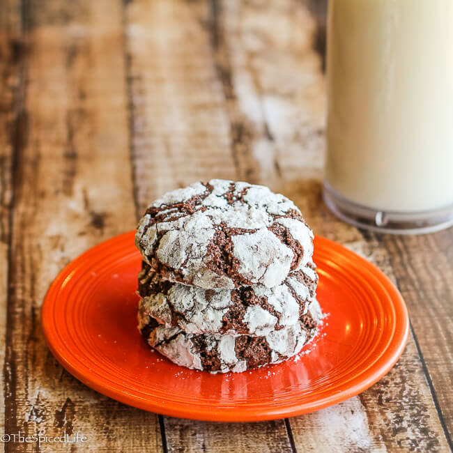 Nibby Chocolate Crinkles: scrumptious dark chocolate cookies filled with cacao nibs and rolled in powdered sugar! And unlike most crinkle cookies, not at all too sweet!!!!