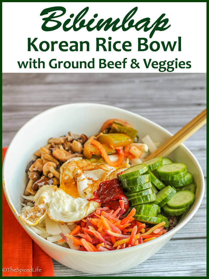Bibimbap: a Korean rice bowl with seasoned ground beef and veggie. So much easier than you think and absolutely delicious!!!