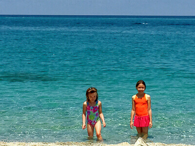 Kids on the beach in Tropea, Italy