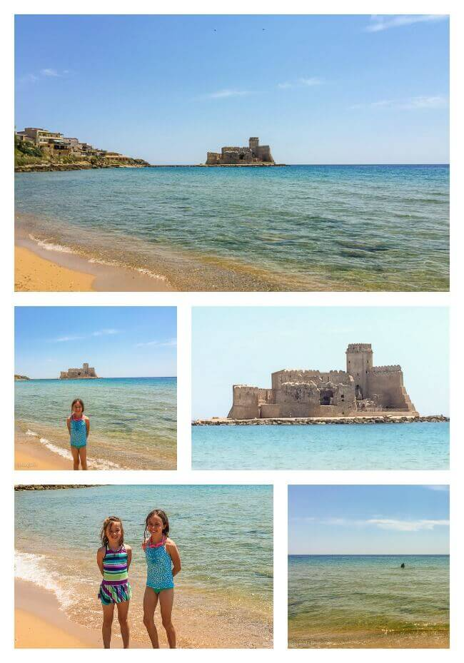 Scenes from the beach at Le Castella in Crotone, Calabria, Italy