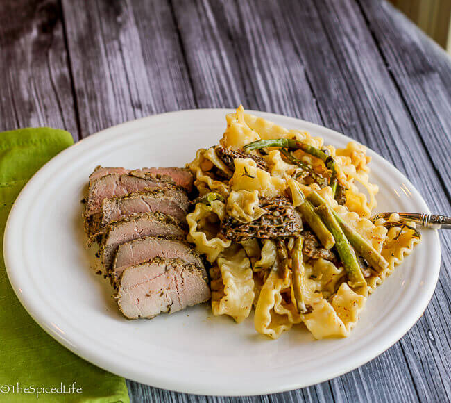 Mafalde Pasta with Morel Mushrooms and Asparagus served with Pork Tenderloin--delicious and easy spring meal!
