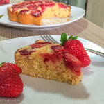 Lemon Olive Oil Cake Topped with Strawberries