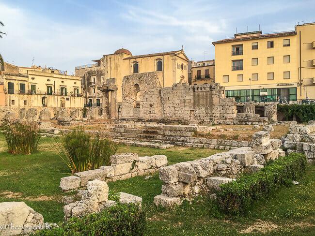 Ruins of temple of Apollo in Ortigia, Siracusa, Sicily, Italy