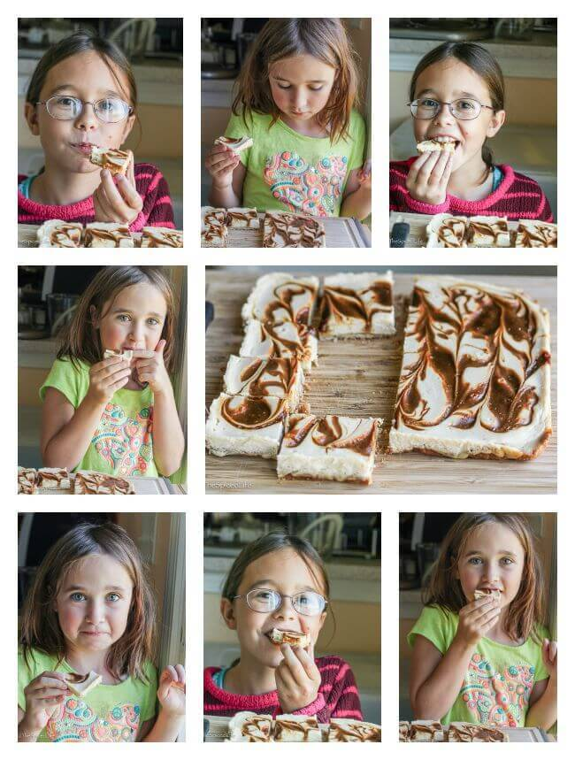 Kids love Caramel Swirled Cheesecake Bars--unbelievable easy and so delicious! Completely from scratch!