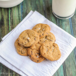 Crispy Bite-Sized Chocolate Chip Cookies--easy to make and delicious! The crunch is light and airy and offset by rich chocolate chips and butter. My family went crazy for these!