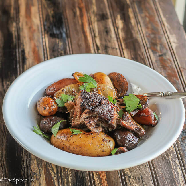 Pot Roast with Persian Spices on Fingerling Potatoes, Onion Wedges and Mushrooms--kick up your Sunday dinner a notch!