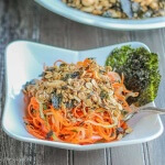 Spiralized Sake Carrot Salad with Nori Granola Topping