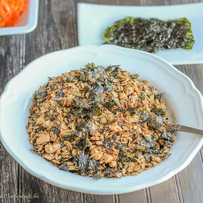 Japanese Inspired Savory Sesame Nori Granola: Sweet, salty and full of unami goodness, this is a great snack, and great for sprinkling in place of croutons on salads!