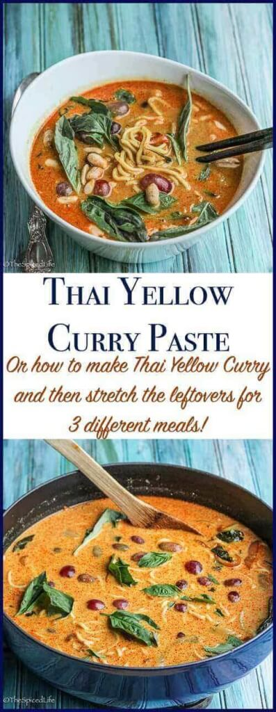 How to Stretch Thai Yellow Curry for Multiple Meals: a Thai Yellow Curry becomes a ramen bowl, and with small changes becomes different enough to be exciting and no one complains about leftovers! A fantastic dinner--Thai yellow curry paste recipe included!