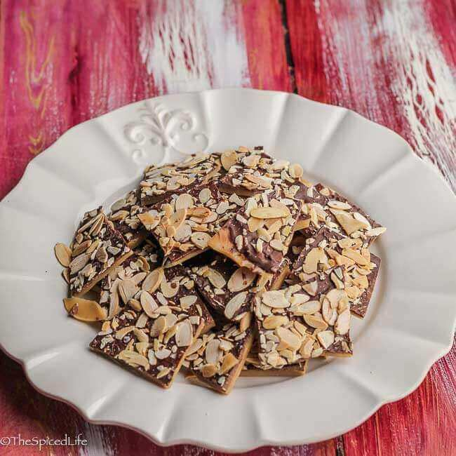 Salted Almond Milk Chocolate Buttercrunch is easy and delicious. Perfect for a Christmas cookie tin or your holiday cookie party!