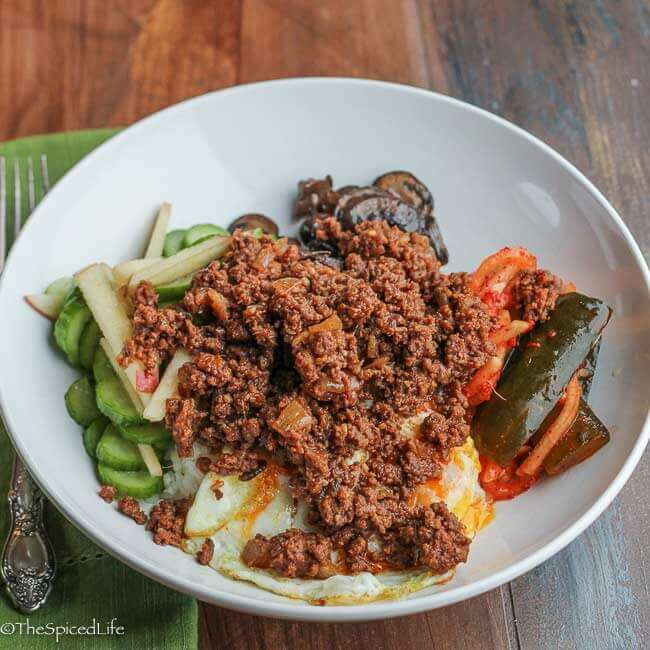 Korean Sloppy Joes served Bibimbap Style