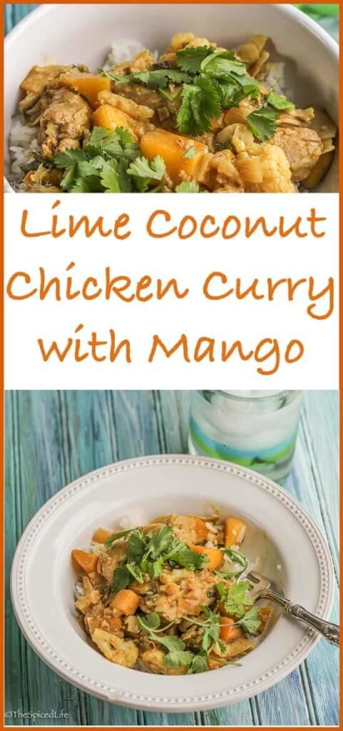 Lime Coconut Chicken Curry with Mangoes--and cauliflower for added healthiness!