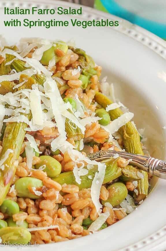 Farro Salad with Asparagus, Edamame and Peas