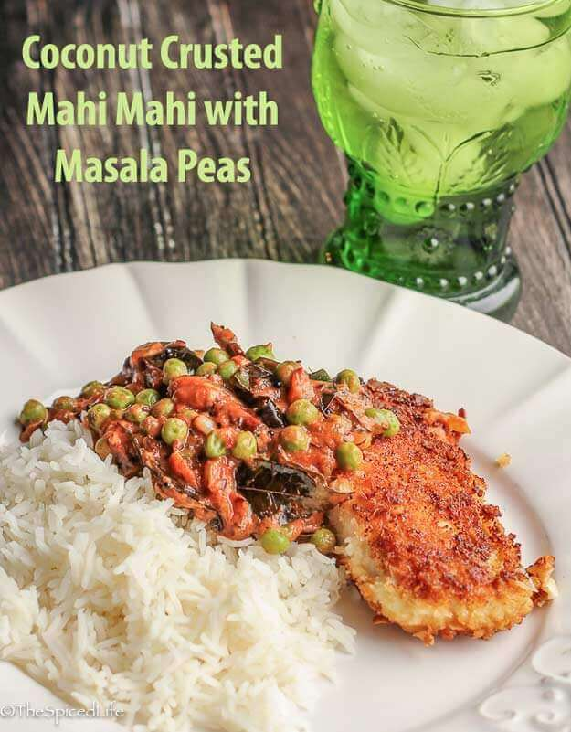 Mahi Mahi sautėed in a panko-coconut flake crust served with Masala Peas