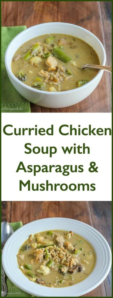 Curried Chicken Soup with Asparagus and Mushrooms