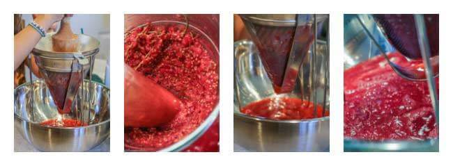 Mashing red currants through a sieve