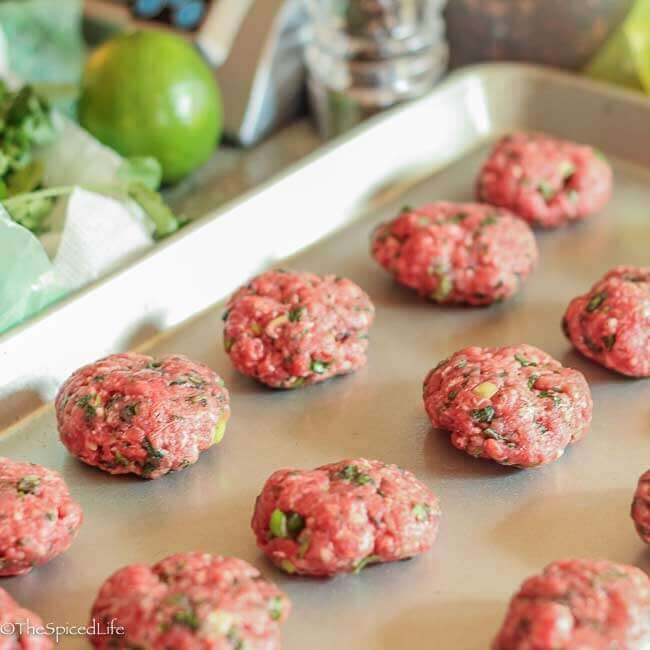 making meatballs for Easy Vietnamese Meatball Noodle Soup--inspired by Bun Cha