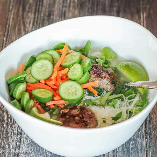Easy Vietnamese Meatball Noodle Soup--inspired by Bun Cha