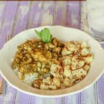 Cinnamon Mint Curry with Chicken & Corn, served with Roasted Cauliflower with Chaat Masala