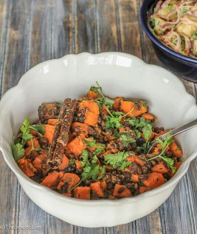 Indian Spiced Sweet Potatoes and Black Beans