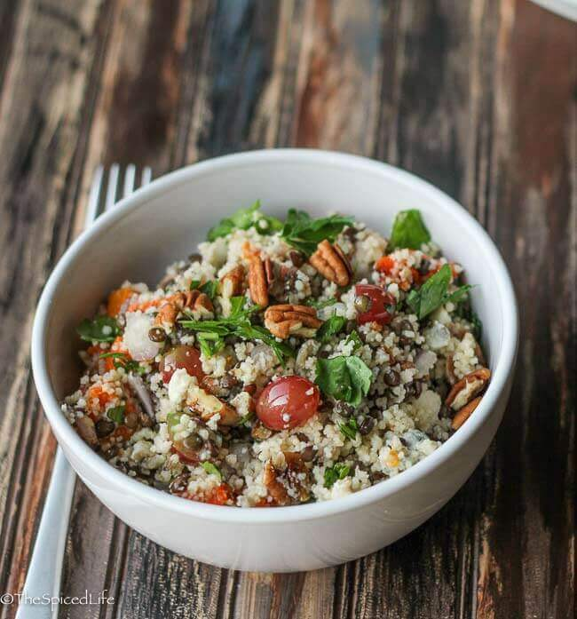 Couscous Salad with Lentils, Butternut Squash and Grapes
