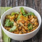 Green Tomato Curry with Peanuts and Yellow Split Peas