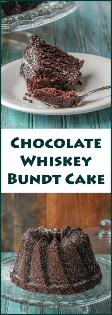 Chocolate Whiskey Bundt Cake--a delicious dark chocolate cake made with bourbon and coffee