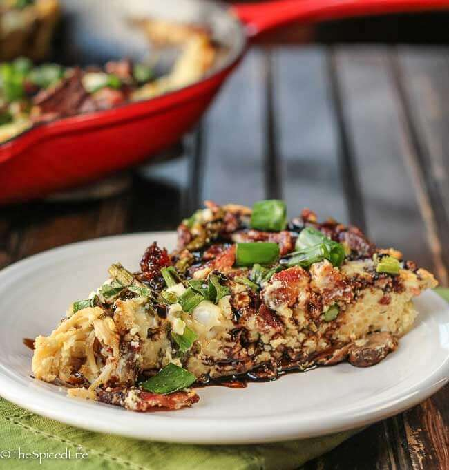 Creamy Pasta Frittata with Bacon, Asparagus and Goat Cheese, drizzled with Balsamic Vinegar