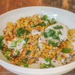 Esquite Tostado con Crema e Queso (Mexican Corn with Crema, Ground Chile and Queso Fresco)