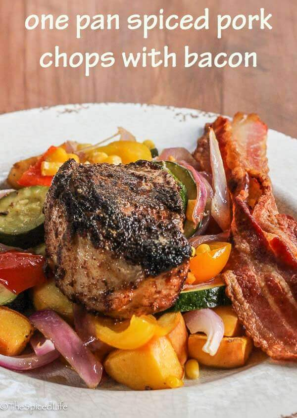 One Pan Spiced Pork Chops with Bacon