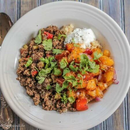 Middle Eastern Burrito Bowl with Peach Salsa