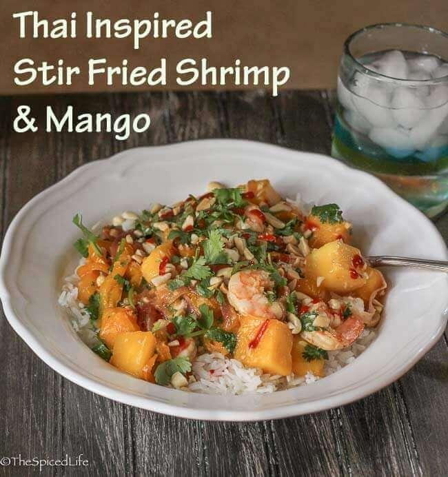 Thai Inspired Stir Fried Shrimp and Mango