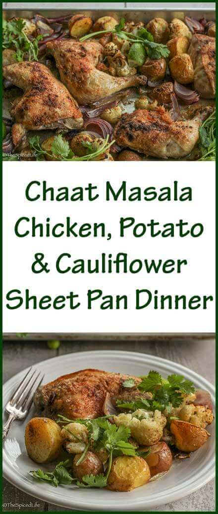 Chaat Masala Chicken, Potato and Cauliflower Sheet Pan Dinner