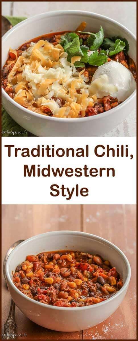 Traditional Chili, Midwestern Style with beans and ground beef