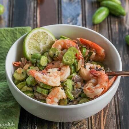 Indian Shrimp Stir Fried with Tindora