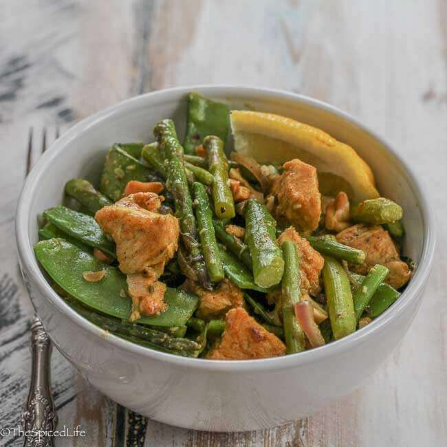 Indian Stir Fry of Chicken with Asparagus and Snow Pea Pods