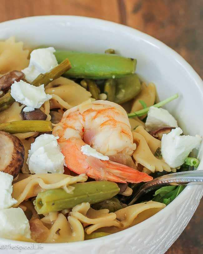 Pasta Salad with Asparagus, Sugar Snap Pea Pods, Mushrooms and Shrimp