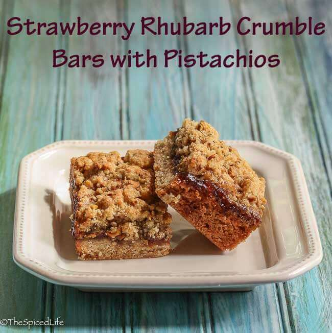 Strawberry Rhubarb Crumble Bars with Pistachios