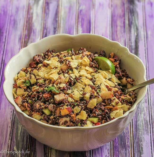 Indian Black Rice Salad with Peaches and Cucumbers (vegetarian)