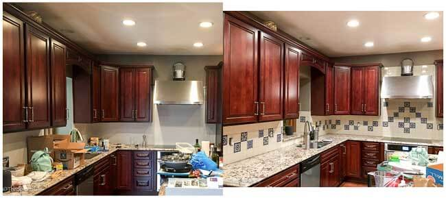 before/after pictures of kitchen tiles
