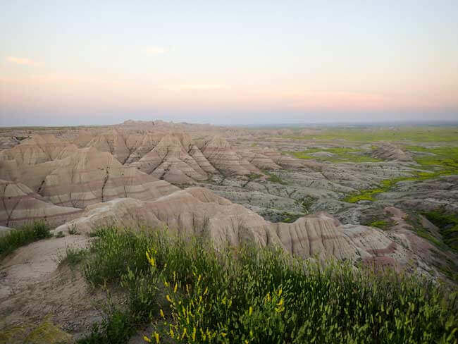 Badlands with sunset coming on