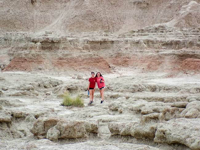 kids exploring Badlands