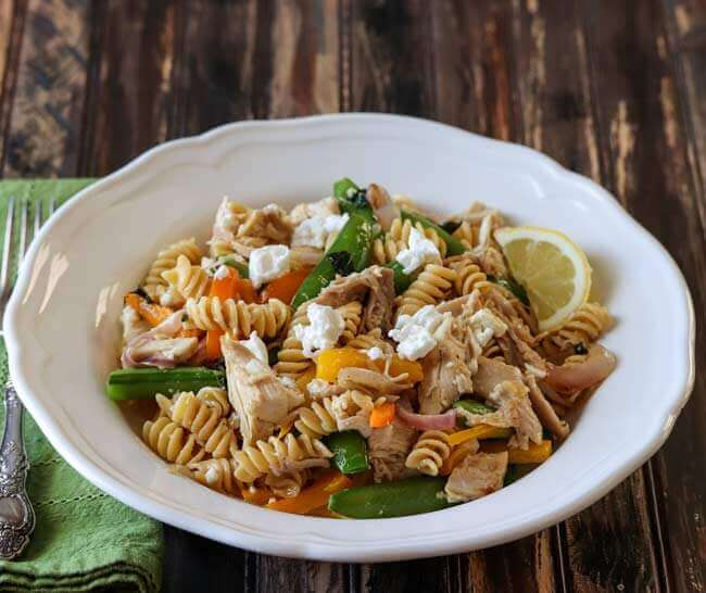 Chicken Pasta Salad with Pea Pods