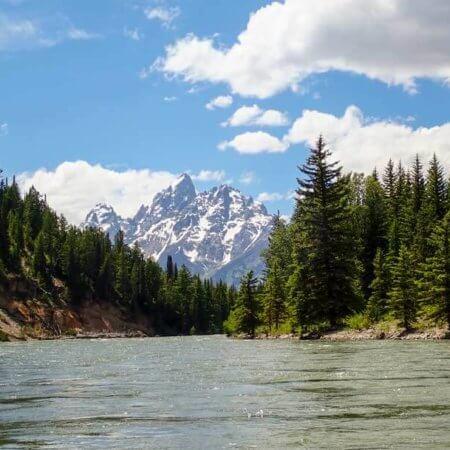 View of Grand Teton Mountain off Snake River