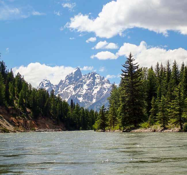 View of Grand Teton Mountain off Snake River
