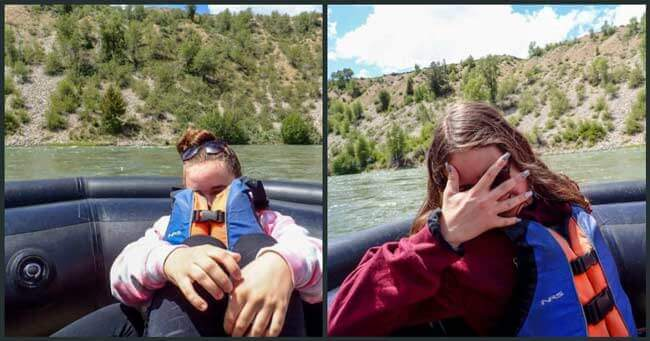 Kids hiding from camera on Snake River Float Trip