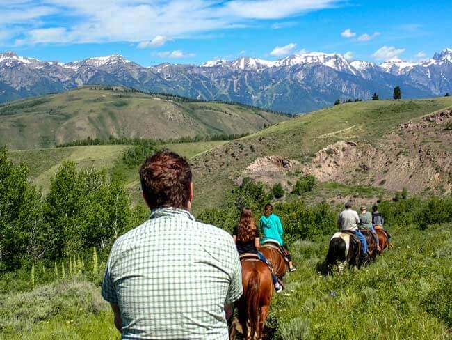 Trail Ride in mountains in Jackson Hole, WY