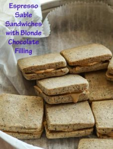 Espresso Sable Sandwiches with Blonde Chocolate Filling