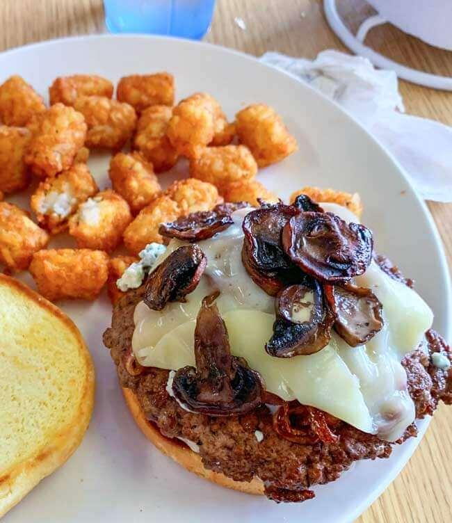 Burger Barn burger with tater tots