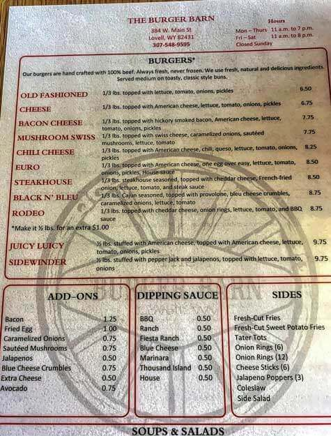 burger barn menu